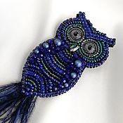 Украшения handmade. Livemaster - original item Dark blue Owl brooch. Bird brooch as a gift to a girl. Handmade.