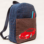 Работы для детей, ручной работы. Ярмарка Мастеров - ручная работа Детский джинсовый стеганый рюкзачок для мальчика с вышивкой Машинка. Handmade.