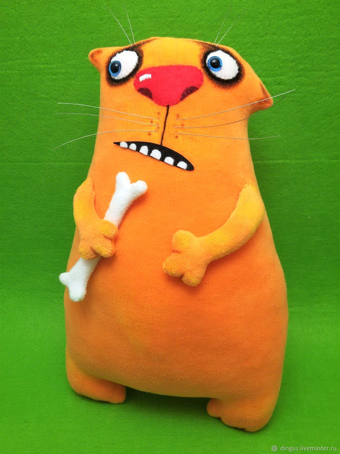 Plush soft toy ginger cat with the bone, the hungry cat, Stuffed Toys, Moscow,  Фото №1