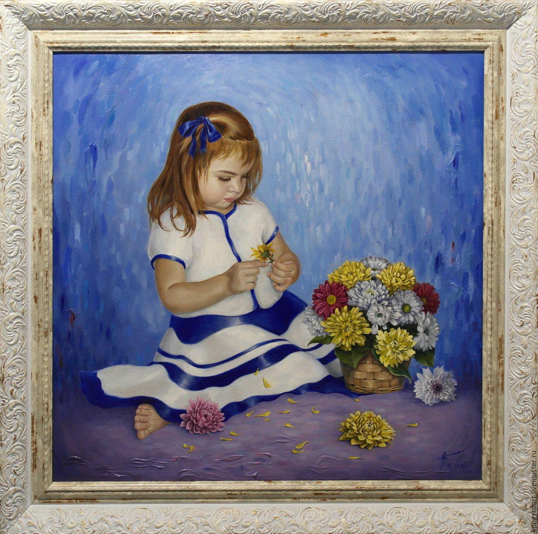 Картины цветов ручной работы. Ярмарка Мастеров - ручная работа. Купить Картина Девочка с хризантемами. Handmade. Дети, хризантемы