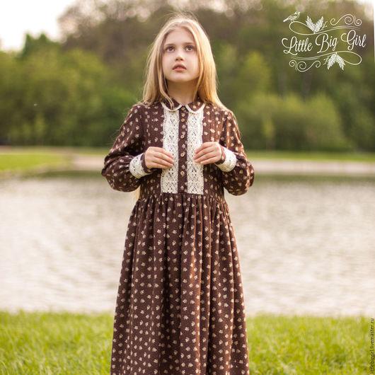 """Одежда для девочек, ручной работы. Ярмарка Мастеров - ручная работа. Купить Платье """"Варюша"""". Handmade. Коричневый, винтаж, кантри"""