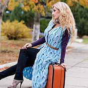 """Одежда ручной работы. Ярмарка Мастеров - ручная работа """"Лазурное"""" Вязаное пальто (кардиган) без рукавов. Handmade."""