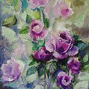 """Картины и панно ручной работы. Ярмарка Мастеров - ручная работа картина акварелью""""В саду лиловых роз""""( продано). Handmade."""