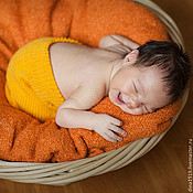 Работы для детей, handmade. Livemaster - original item Set knitted for girl, cap, pants, orange. Handmade.