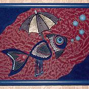 """Картины и панно ручной работы. Ярмарка Мастеров - ручная работа Панно из кожи """"Как рыбе зонтик"""". Handmade."""