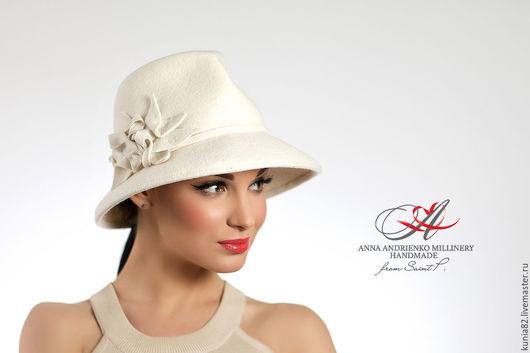 Свадебные и вечерние аксессуары ручной работы. Белая фетровая шляпа `White`. Анна Андриенко. Ярмарка Мастеров.
