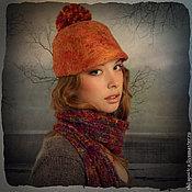 """Аксессуары ручной работы. Ярмарка Мастеров - ручная работа """"Рыжая с помпоном"""" кепка-жокейка. Handmade."""