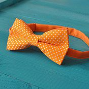 Аксессуары handmade. Livemaster - original item Tie Party / bright orange bow tie in polka dot. Handmade.
