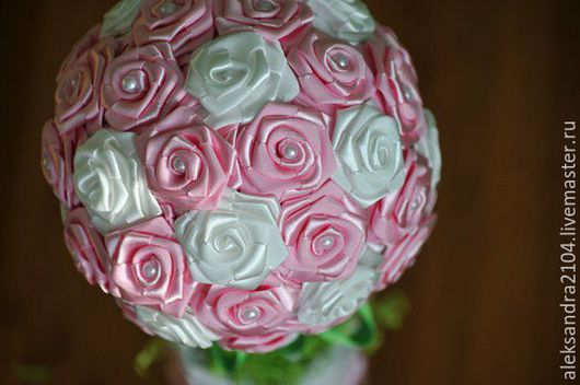 Свадебные цветы ручной работы. Ярмарка Мастеров - ручная работа. Купить Букет из Атласных лент для невесты. Handmade. Розовый, на свадьбу