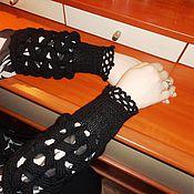 """Аксессуары ручной работы. Ярмарка Мастеров - ручная работа Митенки, перчатки без пальцев """"Черные ажуры"""". Handmade."""