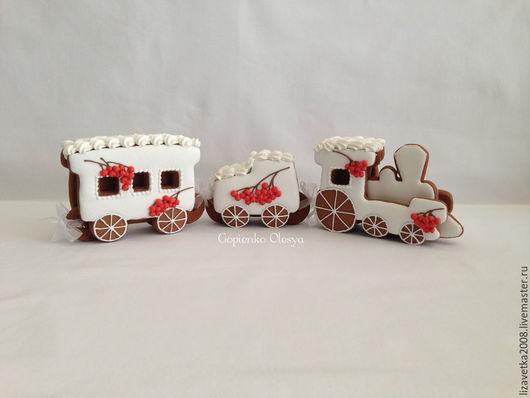 Кулинарные сувениры ручной работы. Ярмарка Мастеров - ручная работа. Купить Пряничный поезд Рябина на снегу. Handmade. Рябина, поезд