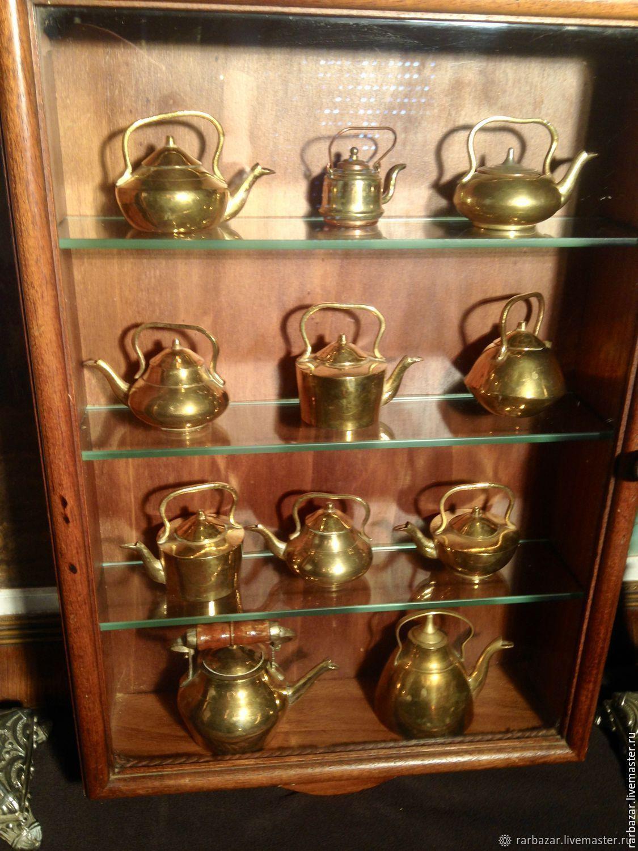 Винтажные предметы интерьера. Ярмарка Мастеров - ручная работа. Купить Винтаж: Коллекция мини чайников в шкафчике! Винтаж! Германия. Handmade.
