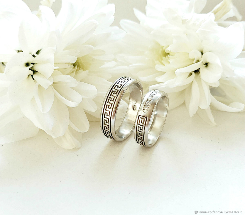 Wedding rings with Greek ornament, silver, cubic Zirconia (Ob7), Engagement rings, Chelyabinsk,  Фото №1