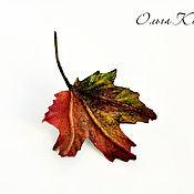 Украшения handmade. Livemaster - original item Brooch leather Autumn maple leaf decoration to present maple leaf. Handmade.