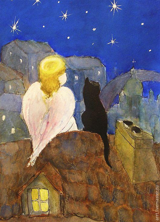 Детские открытки ручной работы. Ярмарка Мастеров - ручная работа. Купить Новогодняя открытка Ангел и черный кот. Handmade. Синий