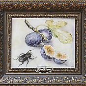 Картины и панно handmade. Livemaster - original item Picture on the tile beetle and Fig. Handmade.