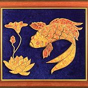 "Картины и панно handmade. Livemaster - original item Amber picture ""Fish and Lotus"". Panels of amber ""Fish and Lotus"". Handmade."