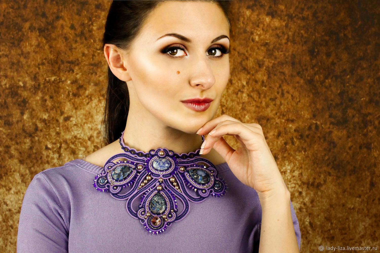 Soutache necklace, purple necklace, luxury necklaces, necklaces beads, soutache necklaces with stones, soutache necklace and earrings, soutache necklaces, buy, soutache jewelry, soutache lady liza