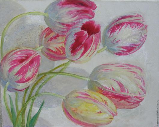 Картины цветов ручной работы. Ярмарка Мастеров - ручная работа. Купить Тюльпаны. Handmade. Розовый, тюльпаны, картина с цветами