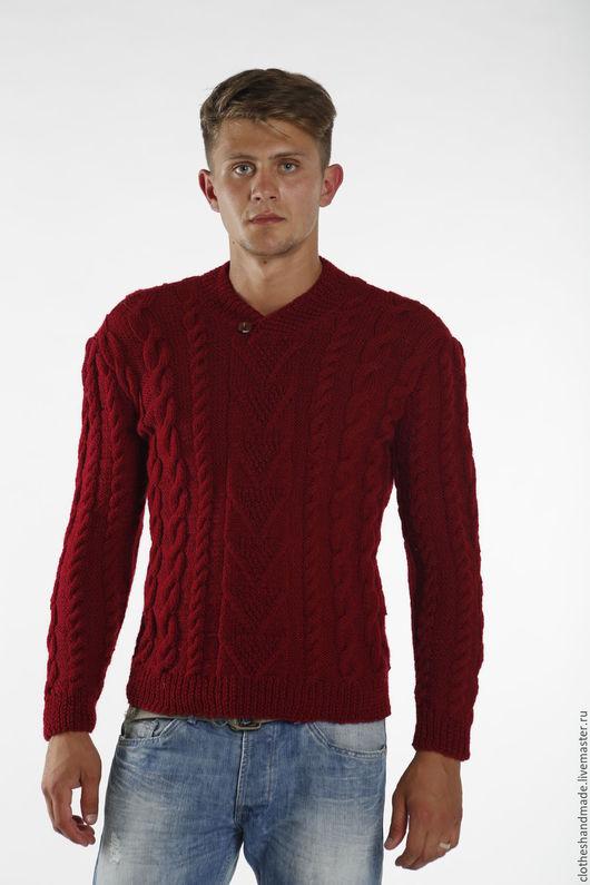 Для мужчин, ручной работы. Ярмарка Мастеров - ручная работа. Купить Мужской свитер вязаный Брусника. Handmade. Вязание на заказ