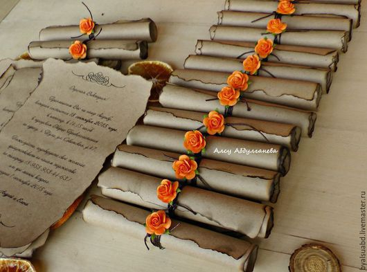 Пригласительные ручной работы. Ярмарка Мастеров - ручная работа. Купить Приглашение на свадьбу свиток цветок. Handmade. Бежевый, Свитки, приглашение