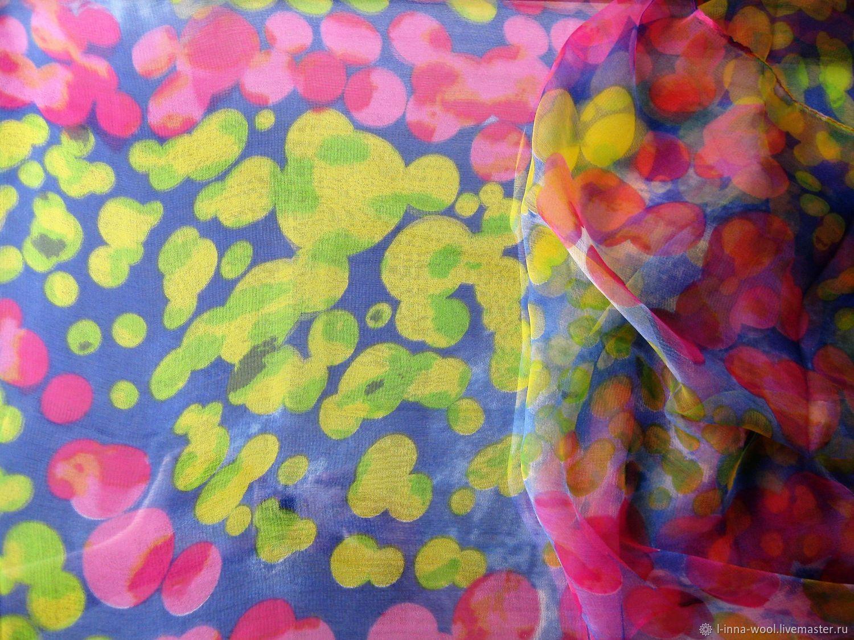Лайм и фуксия Шарф шифоновый с шелком 170 х 50 см, Ткани, Новосибирск,  Фото №1