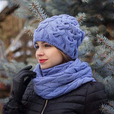 """Аксессуары ручной работы. Ярмарка Мастеров - ручная работа Комплект вязаный """"Принцесса незабудка"""" - шапка и снуд. Handmade."""