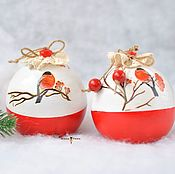 "Подарки к праздникам handmade. Livemaster - original item Шар-шкатулка с пожеланиями ""Снегири"" 10см. Handmade."