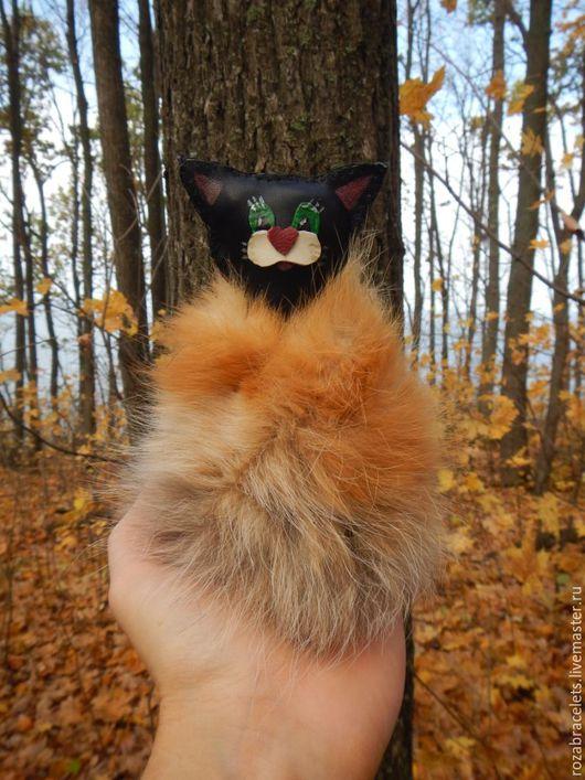 Игрушки животные, ручной работы. Ярмарка Мастеров - ручная работа. Купить Кожаная игрушка с мехом Кот в шубе. Handmade.