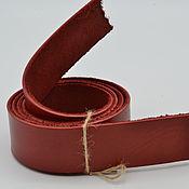 Кожа ручной работы. Ярмарка Мастеров - ручная работа Кожаная полоса шириной 40мм толщиной 2-4мм длиной до 1300мм Красная. Handmade.