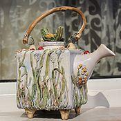 Посуда ручной работы. Ярмарка Мастеров - ручная работа Чайник керамический Луговой. Handmade.
