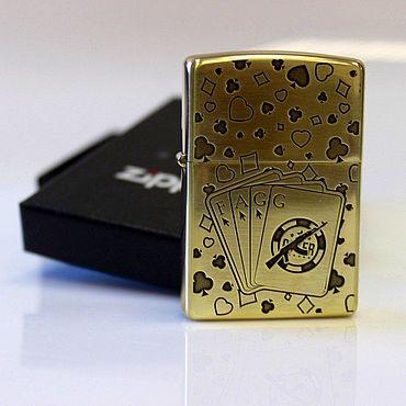 Зажигалка Zippo Poker High Polish Brass 254B