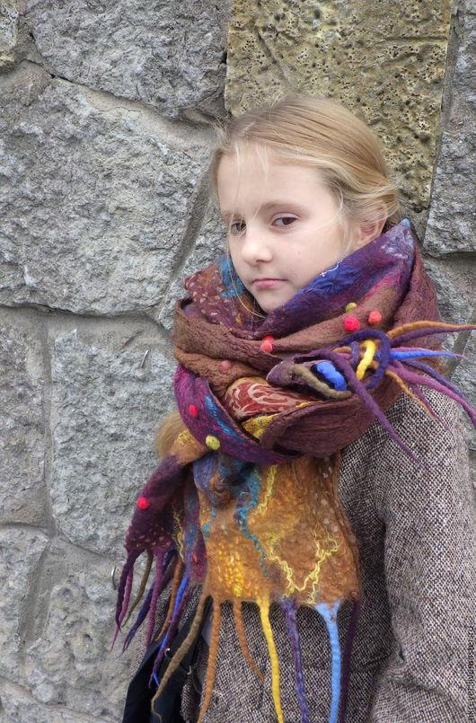 Шарфы и шарфики ручной работы. Ярмарка Мастеров - ручная работа. Купить Осенняя палитра. Handmade. Бордовый, шарф шерстяной