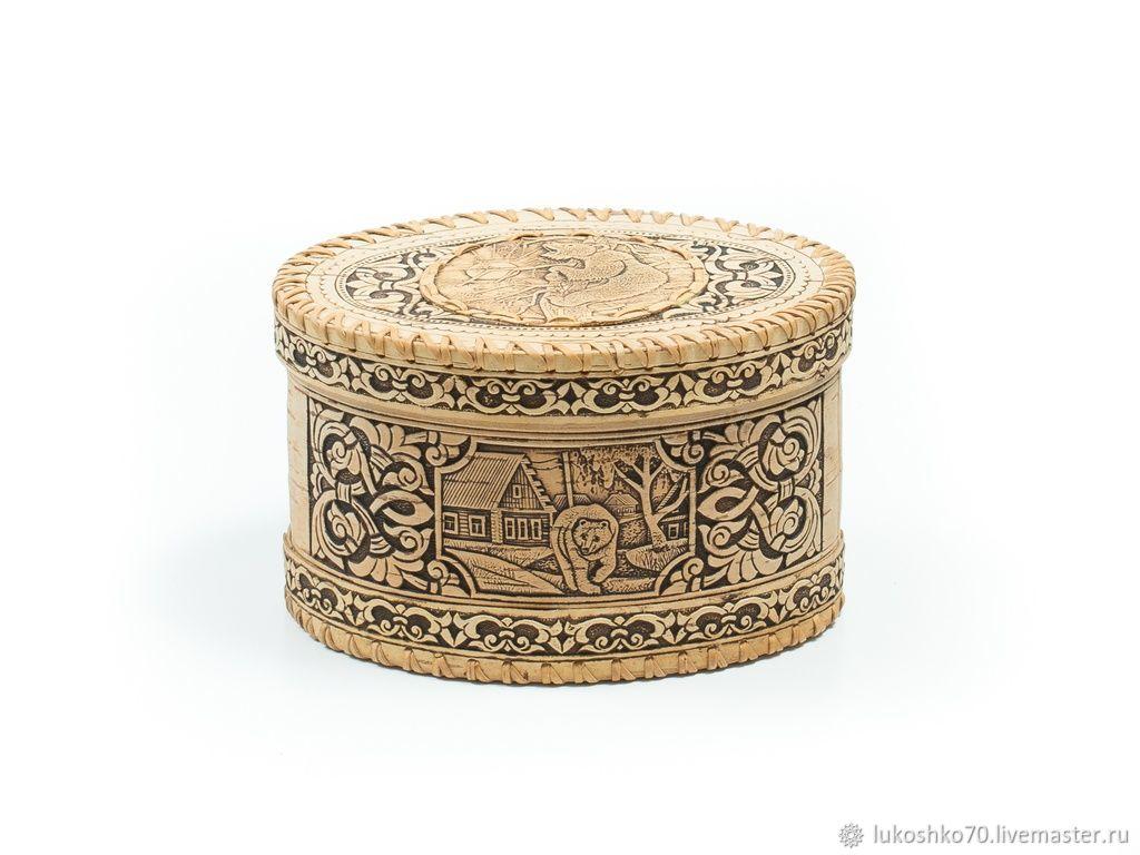 Bar of birch bark ' Bear'. Birch bark box, Box, Tomsk,  Фото №1