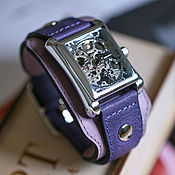 Украшения handmade. Livemaster - original item Quadro Purple transparent wrist watch with wide leather strap. Handmade.