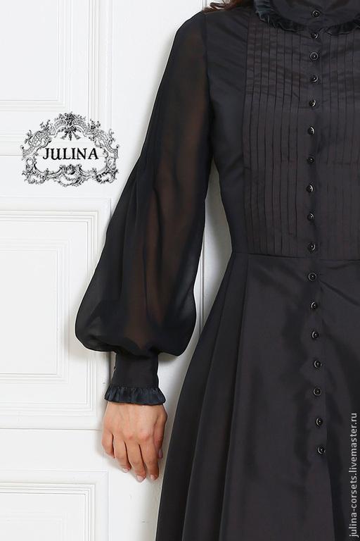 """Платья ручной работы. Ярмарка Мастеров - ручная работа. Купить Платье шелковое """"Аристократка"""" черное. Handmade. Черный, деловое платье"""