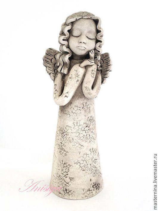 Статуэтки ручной работы. Ярмарка Мастеров - ручная работа. Купить Керамическая статуэтка ангела. Handmade. Бежевый, авторская керамика, керамика