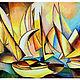 Пейзаж ручной работы. Ярмарка Мастеров - ручная работа. Купить Картина Яхты. Handmade. Желтый, краснный, море, лагуна, изысканный
