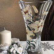 Для дома и интерьера handmade. Livemaster - original item A crystal vase of White lilies. Handmade.