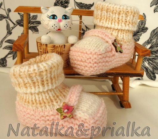 Для новорожденных, ручной работы. Ярмарка Мастеров - ручная работа. Купить Пинетки-туфельки. Handmade. Бледно-розовый, пинетки вязаные