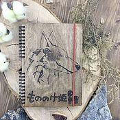 Канцелярские товары handmade. Livemaster - original item Princess Mononoke Wooden Notepad / Sketchbook. Handmade.