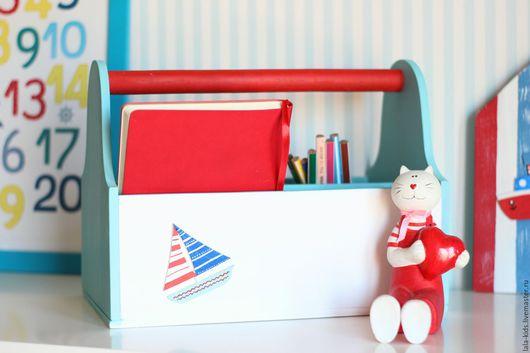 Детская ручной работы. Ярмарка Мастеров - ручная работа. Купить Ящик с ручкой Морской. Handmade. Желтый, детская комната, кораблик