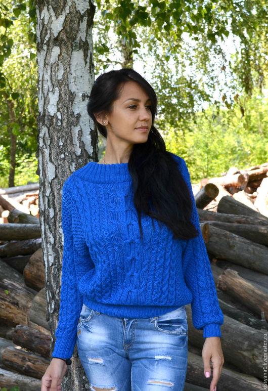 Кофты и свитера ручной работы. Ярмарка Мастеров - ручная работа. Купить Свитер с косами в стиле Рубан исполнен в королевском синем цвете. Handmade.