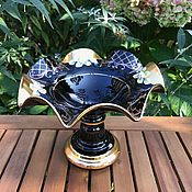"Винтаж handmade. Livemaster - original item Ваза, стекло "" Богатая фруктовница"" , Богемия, Чехия. Handmade."