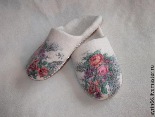 """Обувь ручной работы. Ярмарка Мастеров - ручная работа. Купить Тапочки """"Аглая-2"""". Handmade. Белый, тапочки, обувь"""