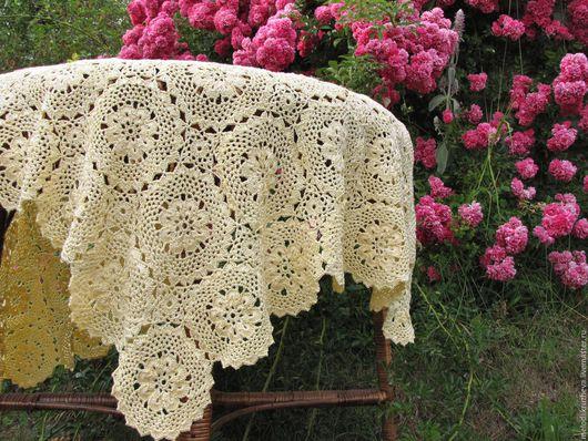 """Текстиль, ковры ручной работы. Ярмарка Мастеров - ручная работа. Купить Скатерть """"Цветы"""". Handmade. Желтый, подарок"""
