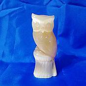 Для дома и интерьера handmade. Livemaster - original item Owl on a tree stump, made of natural Ural ornamental stones Selenite. Handmade.