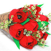 Цветы и флористика ручной работы. Ярмарка Мастеров - ручная работа Красные тюльпаны. Handmade.