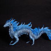 Куклы и игрушки ручной работы. Ярмарка Мастеров - ручная работа Ледяной элементный дракон фигурка дракончик синий. Handmade.