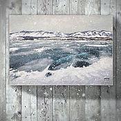 Картины и панно ручной работы. Ярмарка Мастеров - ручная работа картина Холод ледяной... (глубокий синий, озеро, горы, снег, зима). Handmade.